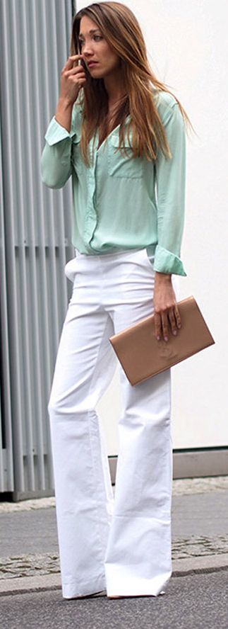 Mint shirts And White pants Styling. women fashion outfit clothing style apparel @roressclothes closet ideas