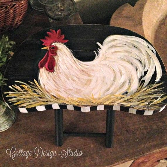country rooster kitchen decor. rooster stool hand painted by CottageDesignStudio  kitchen decor 63 best Hand roosters images on Pinterest