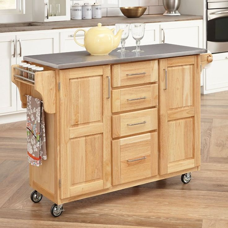Home Styles 52.5-in L x 18-in W x 36-in H Brown Scandinavian Kitchen Carts