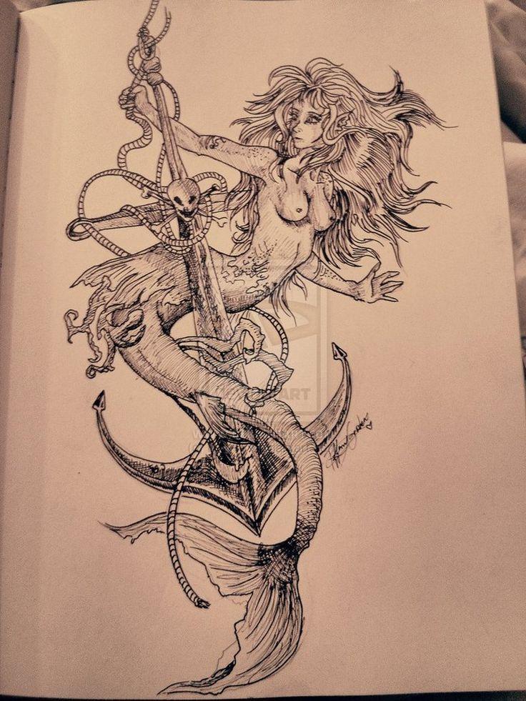 Mermaid anchor tattoo mermaid tattoos anchor tattoos for Mermaid tattoos pinterest