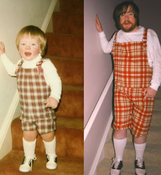 Childhood photos recreated...the first one freaks me out, but the rest are pretty funny.