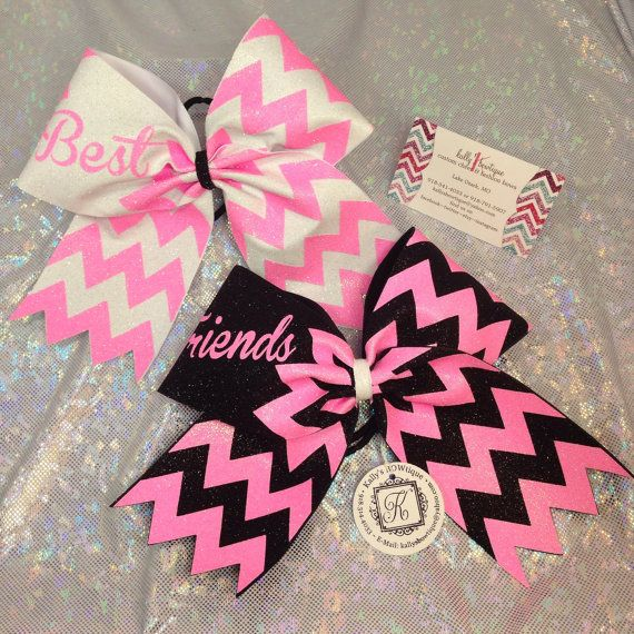 Best Friends Cheer BOW set in Black Neon Pink and White Chevron Copy on Etsy, $25.00