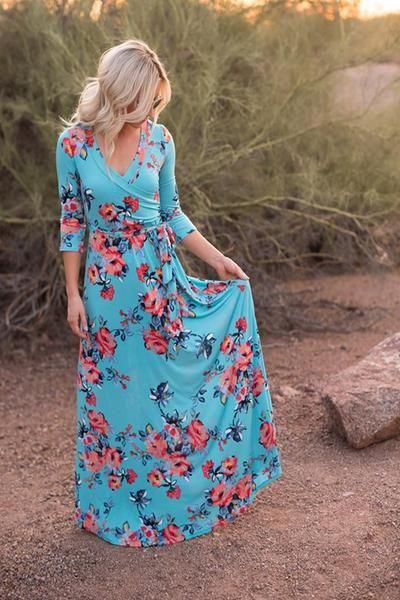 Maternity Photo Shoot Ideas - Floral Wrap Maxi Dress - ShopLuckyDuck  - 1
