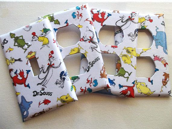 Dr Suess Faceplate Set of 4 by ModestSheep on Etsy, $15.00