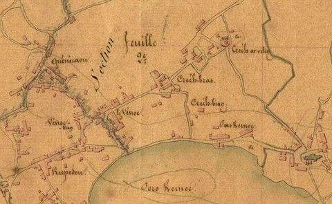 Detail of 1847 cadastre plan, the island of Batz is growing since 1809 cadastre many new houses have arisen