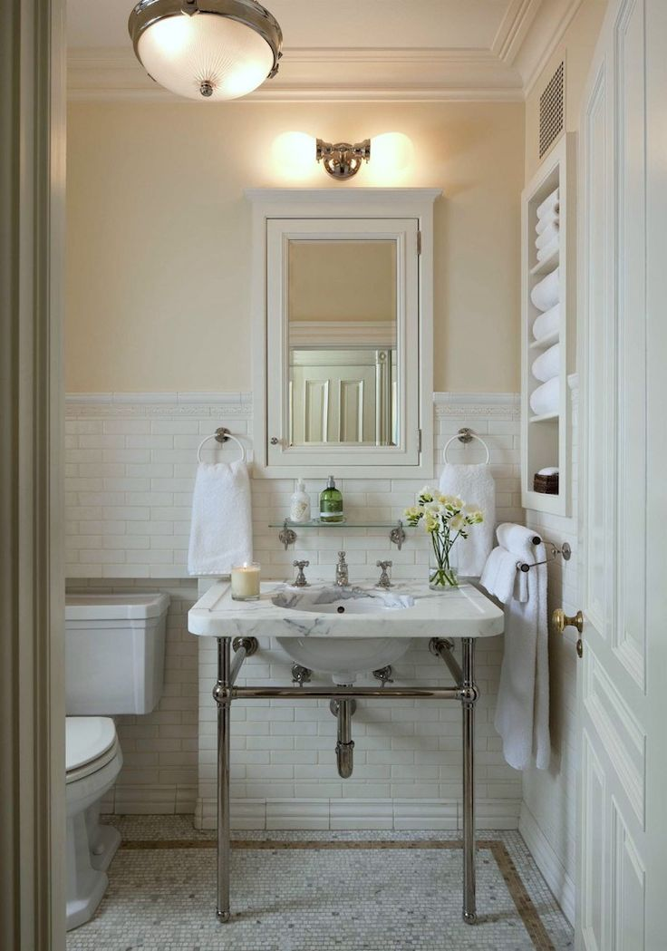 Finding Bathroom Storage For A Small Difficult Bathroom | laurel home - gorgeous bathroom design by John B Murray Architects - love the marble console sink! #smallbathroom (this particular bathroom is not that small. There's a link in the post to the rest of this gorgeous bathroom!)