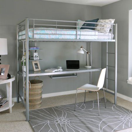 Twin Premium Metal Loft Bed with Workstation, Silver