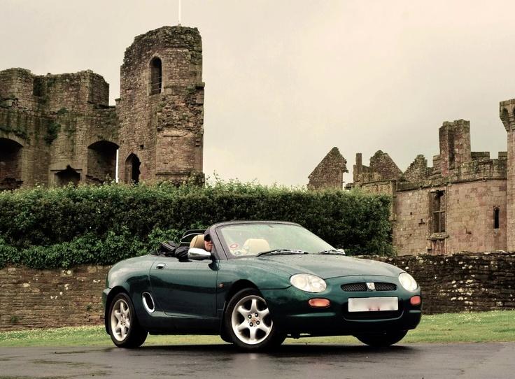 Classic Green MGF Sports Car outside Raglan Castle, Wales #MG #green #car