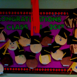 """Graduation bulletin board for pre-school -   I put it here so I""""ll remember at the end of the year"""