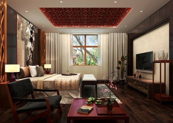 moderne deckengestaltung mit rotem asiatischem design - Hervorragendes Rotes Esszimmer Design