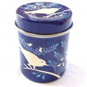 Navy enamel storage tin with birds from Fairwind