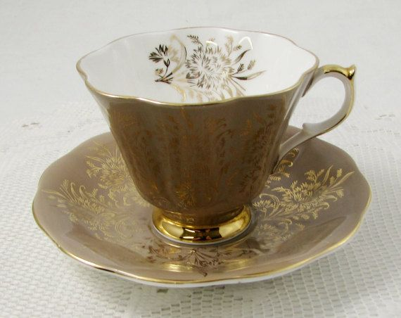 Queen Anne Brown Tea Cup and Saucer with Gold Decor, Vintage Bone China