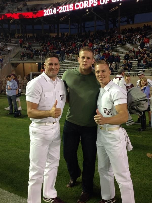 J.J. Watt and Yell Leaders at a 2014 football game in Aggieland!