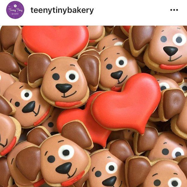 """648 Likes, 7 Comments - Cookie Cutters (@trulymadplastics) on Instagram: """"Awww how cute!! Valentine pups and hearts made by Jackie @teenytinybakery"""""""