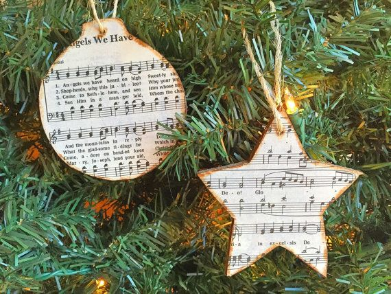 Celebrate the Christmas season with these rustic Christmas music ornaments!  LISTING INCLUDES - Two (2) ornaments  FEATURES - Each ornament is lightweight wood - Each ornament is about 3 3/4 - One ornament is a circle and one is a star shape - Each ornament is stained - Each ornament has the sheet music to the hymn Angels We Have Heard On High on the front - Each ornament is sealed to protect it - Each ornament has a twine hanger  SHIPPING These items will be shipped within 1 to 2 business…
