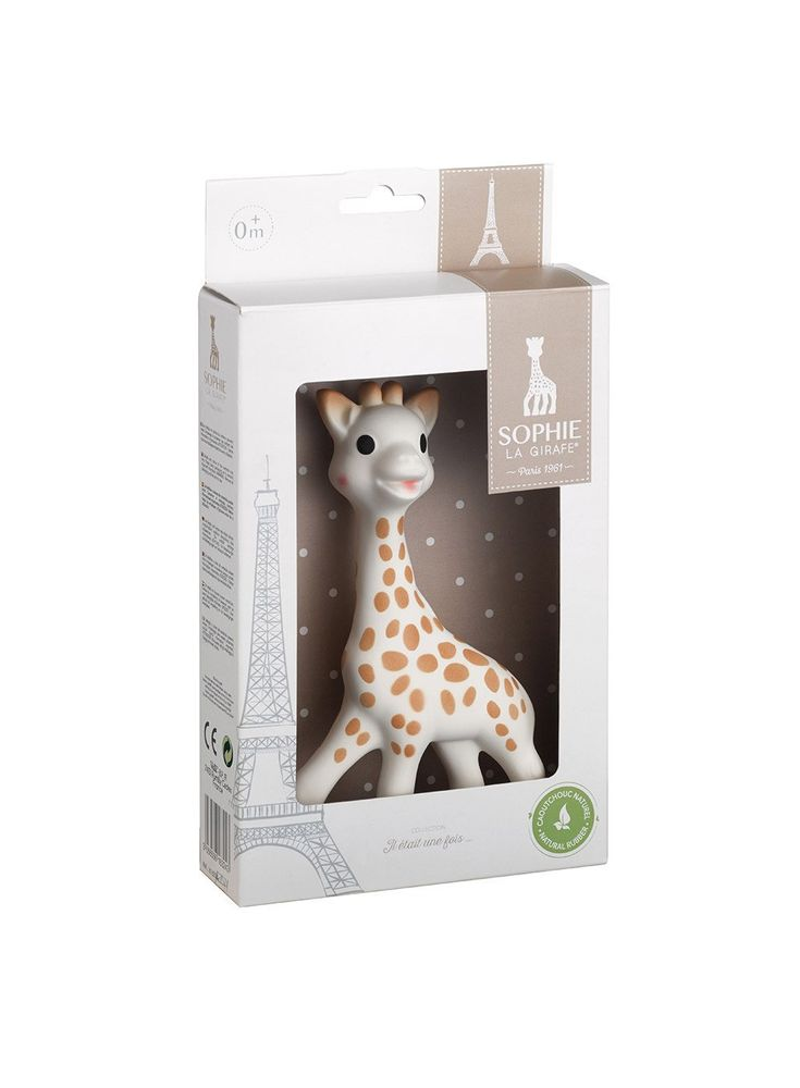Sophie La Girafe is a much sought after favourite, and is nowadays seen as a must-have for babies and parents worldwide. Sophie is made from a natural rubber which is derived from the sap of the hevea tree. It is phthalate-free with no vinyl or PVC. Sophie is also famous for being a great teething aid by helping to soothe sore gums, and for stimulating senses with soft colours and squeaks.