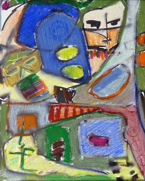 Original  abstrakte Malerei  lustige Gesichter  von BenzArtDesign