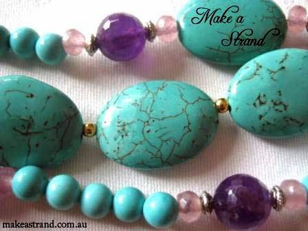 An example of Make a Strand's designs in turquoise - the purple beads are faceted amethyst, and the pink rondelles are pink jade