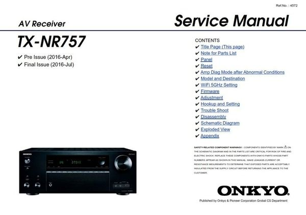Onkyo TX NR757 AV Receiver Service Manual and Repair Guide