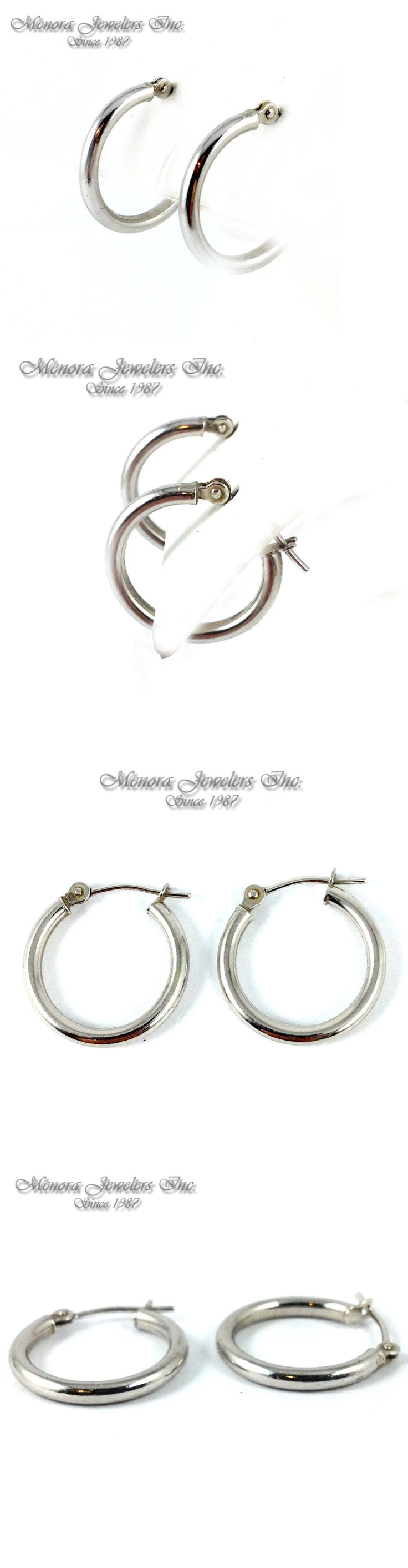 Earrings 98476: Little Girls 14K White Gold Hoop Earrings 3/8 Small And Light! Starter Earrings! BUY IT NOW ONLY: $69.0