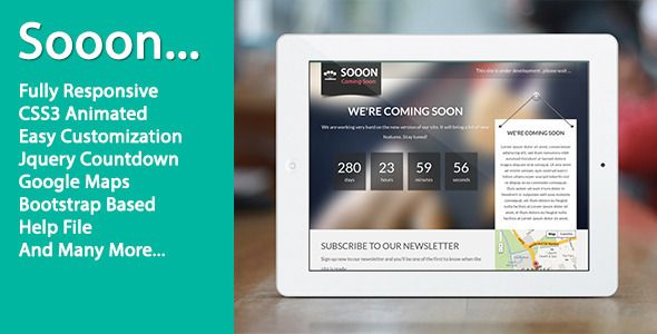 Sooon - Animated Clean Coming Soon Template - Under Construction Specialty Pages