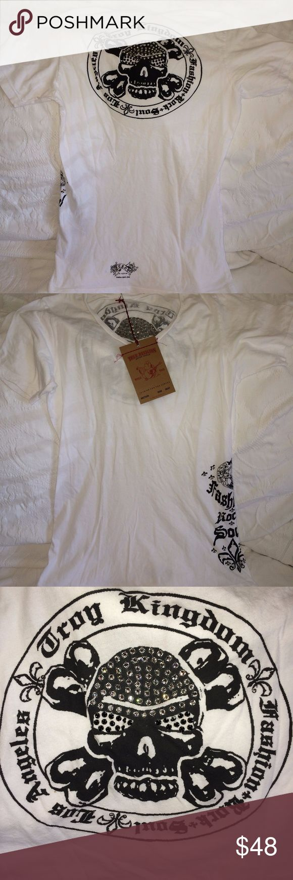 White True Religion T-shirt Brand new True Religion t-shirt with black beaded details on front and back. Never worn. New with tags. True Religion Tops Tees - Short Sleeve