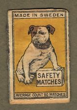 SWEDISH SAFETY MATCHES YELLOW BACKGROUND ENGLISH BULLDOG]   SVENSKA säkerhetständstickor GUL BAKGRUND Engelsk bulldog