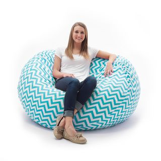 Comfort Research FufSack Memory Foam Zig Zag Blue 4 Foot Large Bean Bag Lounge Chair Poly Synthetic Fiber