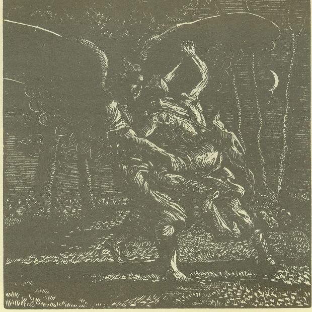 Jacob and the angel woodengraving - Prints - Work - The Roger Wagner Website