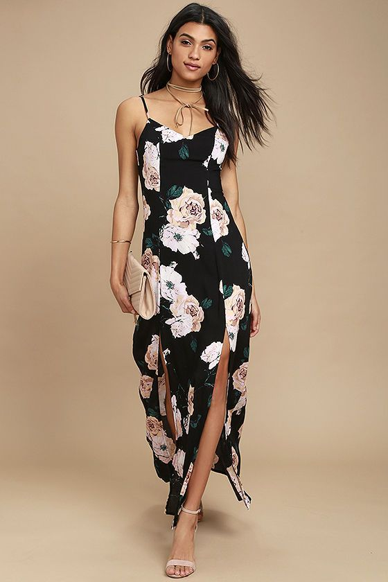 Lulus Exclusive! Save your pennies, we want petals instead! The Peony For Your Thoughts Black Floral Print Maxi Dress features an elegant pink, peach, green, and white floral print across a woven, triangle bodice with princess seams, and adjustable straps. Flowing maxi skirt has twin slits. Hidden side zipper/clasp.