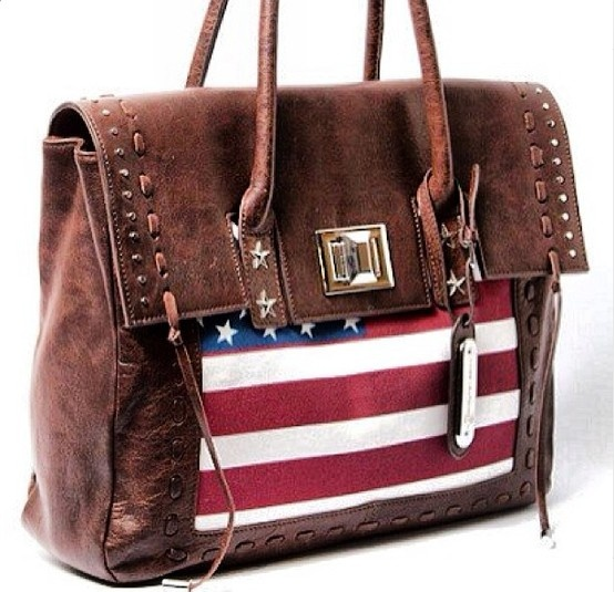 Aimee Kestenberg Vintage Leather Flag Printed Satchel
