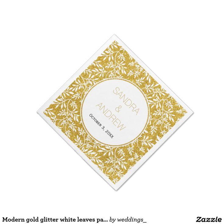 Modern gold glitter white leaves pattern wedding paper napkin