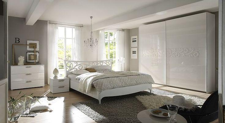 SPÁLNE | Manželská posteľ AMBROSIA - P biely lesklý lak 180x200 cm | Nábytok, sedačky, pohovky, obývačky, predsiene, spálne