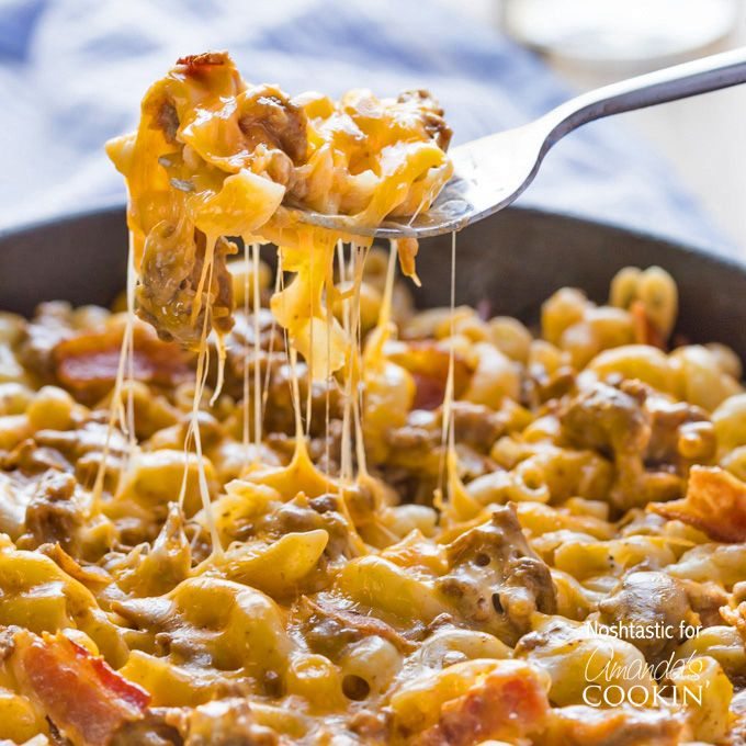 Bacon Cheeseburger Pasta Skillet Recipe Main Dishes with pasta, lean ground beef, bacon slices, beef broth, worcestershire sauce, ketchup, corn starch, shredded cheddar cheese, shredded mozzarella cheese