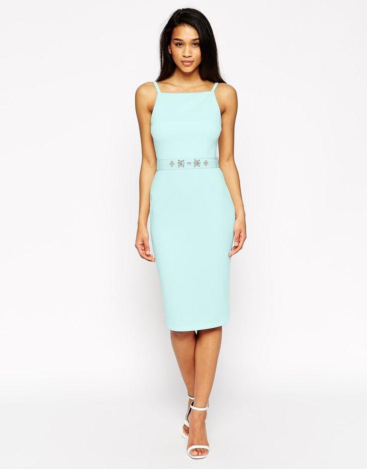 Image 1 ofASOS Premium Jewel Belt Scuba Pinny Midi Dress
