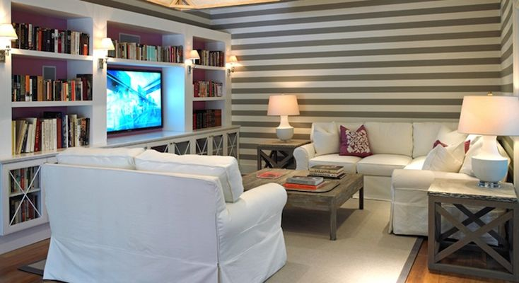 Suzie: Hillary Littlejohn Scurtis - Cottage style family room with wall to wall media cabinet ...
