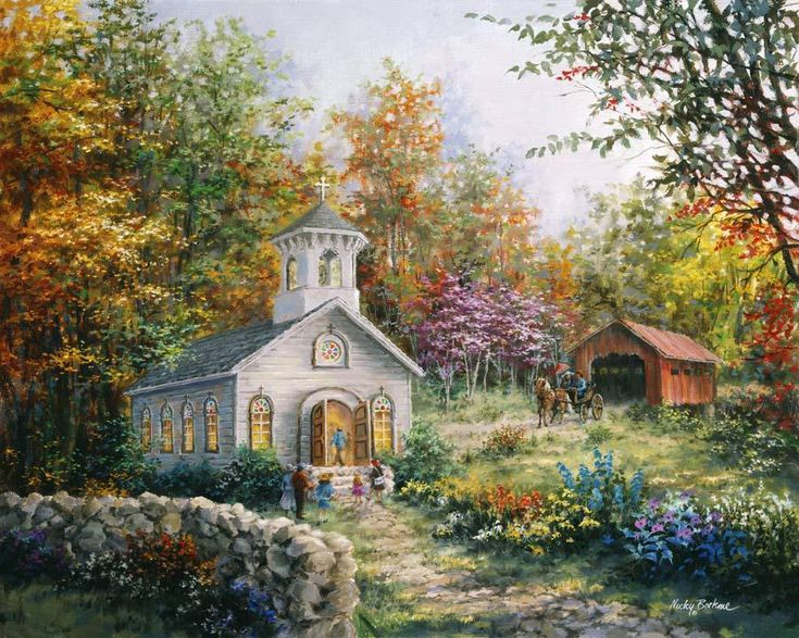 Worship in the Country by Nicky Boehme ~ church ~ covered ...