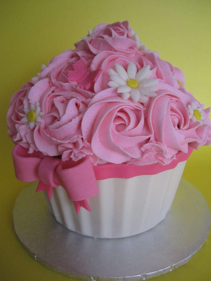 Giant Cupcake smash cake - Chocolate shell, 1m swirls, fondant flowers