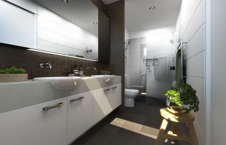 Elegant and spacious bathrooms with luxurious double vanities and feature wall tiles.