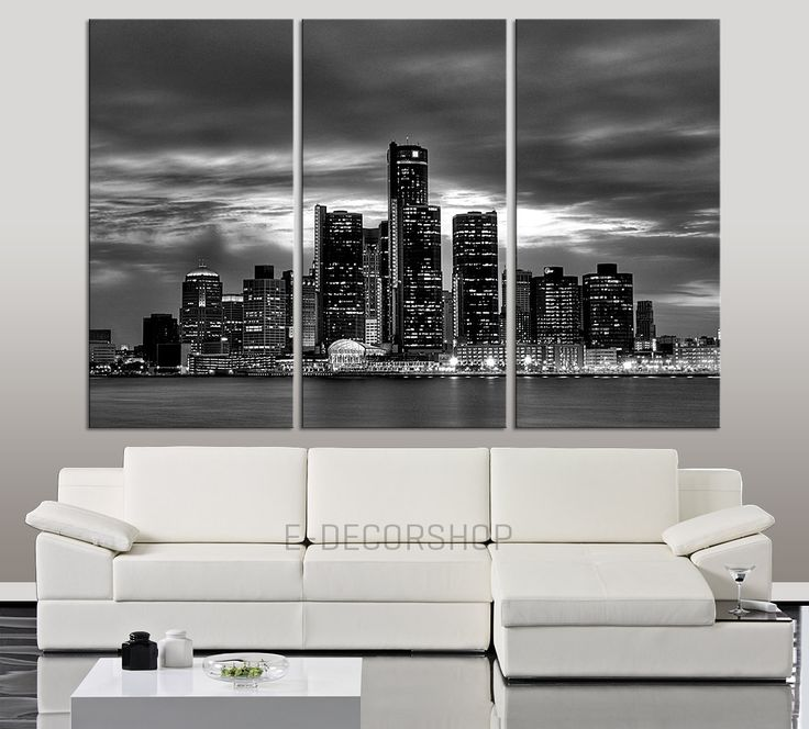 large wall art canvas print detroit night skyline 3 piece wall canvas art print detroit