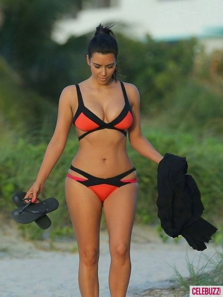 "Pinning to demonstrate that Kim K has a great body-womanly but also in great shape health wise- but those hips and boobs would never ""fit"" a size 00,0,2,4 or even 6!! Size is not a determiner for health or fitness!!"