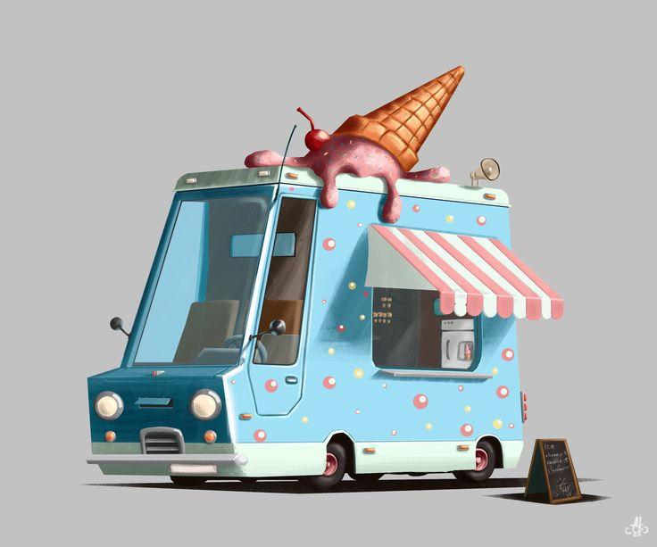 Ice cream, Alexandr Krainuk on ArtStation at https://www.artstation.com/artwork/qKNWD