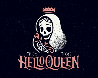 HelloQueen by erkaeva skeleton skull halloween grim reaper typography orange white black stipple tattoo flash creepy scary