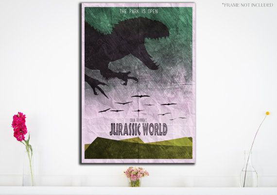 Jurassic World Movie Poster - Wall Art Print - Pterodactyl - Indominus Rex - (Available In Many Sizes)