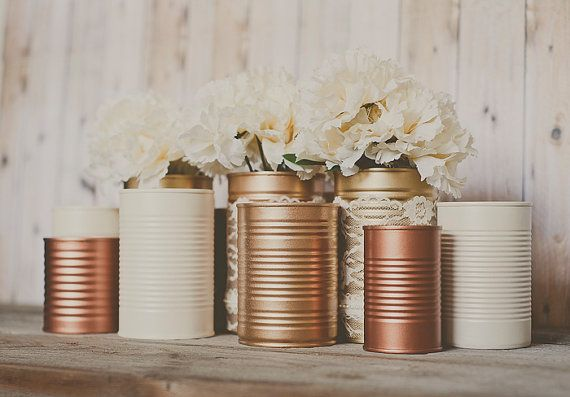 3 Painted tins cans. Centerpieces. Copper and gold decor.