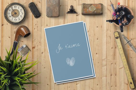 Valentine's Day Card for him Je t'aime Card for him by FPD3sign
