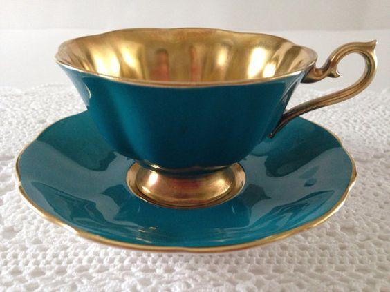 Very Rare Teal And Gold Royal Albert China Tea Cup & Saucer: