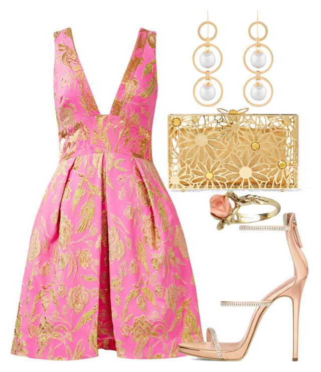 """""""Pink Dress"""" by walkerwalker on Polyvore featuring Notte by Marchesa, Charlotte Olympia, Vintage, Giuseppe Zanotti and Deborah Grivas Designs"""