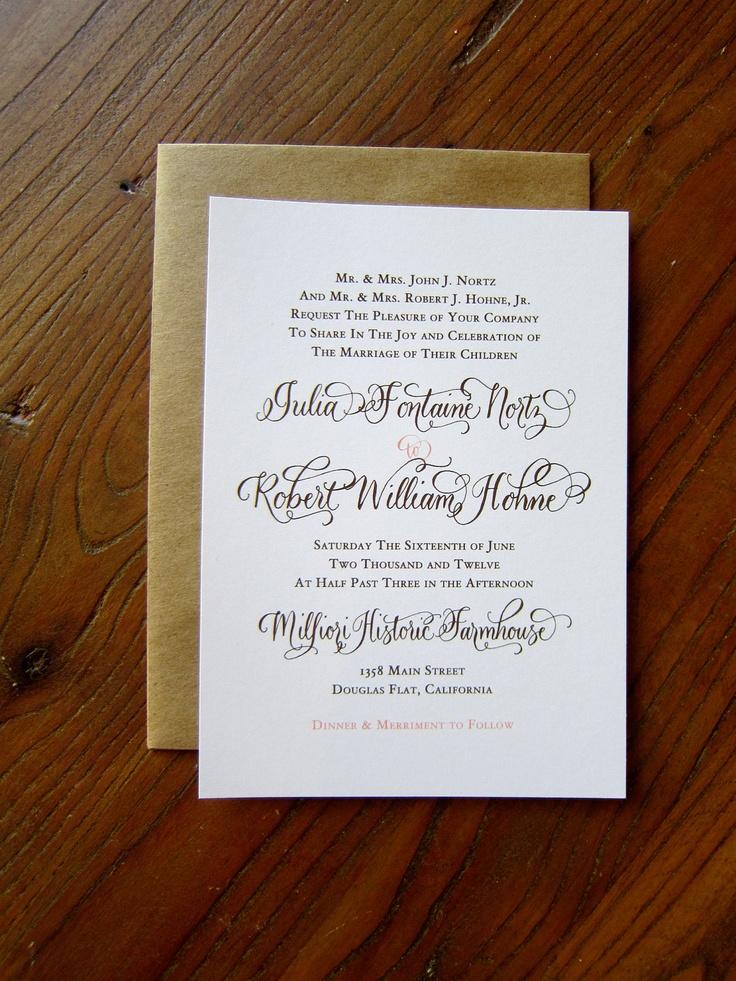 addressing wedding invitations married woman doctor%0A Custom Calligraphy Letterpress Wedding Invitation