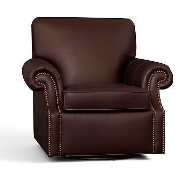 Brooklyn Leather Swivel Armchair Espresso, Polyester Wrapped Cushions